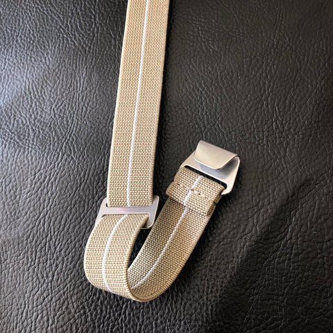 "Parachute Style ""No Pass"" Elastic Watch Strap - Khaki with White Stripe - American Microbrand"