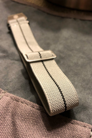 Parachute Style Elastic Watch Straps - Gray with Black Stripe - American Microbrand