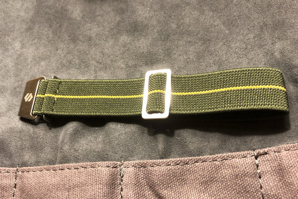 Parachute Style Elastic Watch Straps - Army Green with Yellow Stripe - American Microbrand