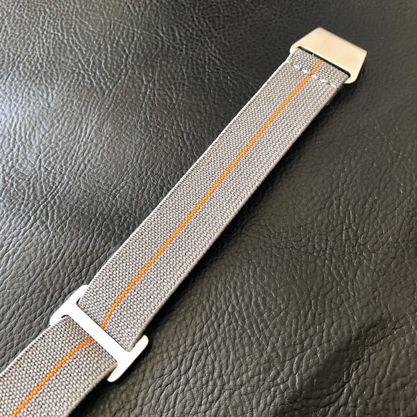 "Parachute Style ""No Pass"" Elastic Watch Strap - Gray with Orange Stripe - American Microbrand"