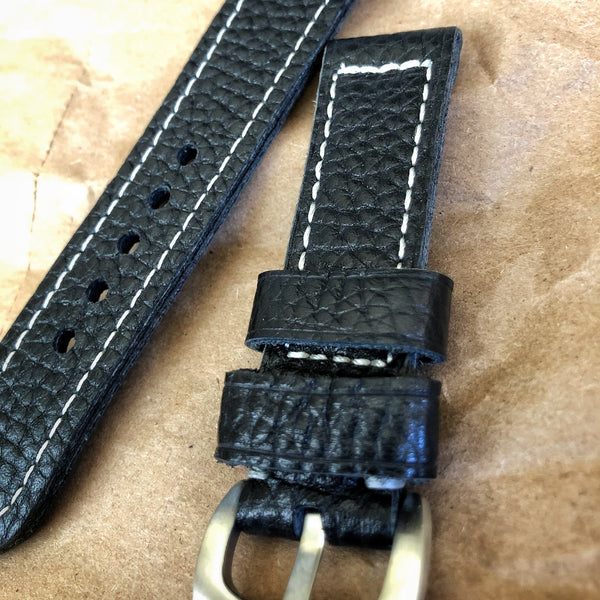 Black Leather Watch Strap For Field Watch, 22mm | Custom Made - American Microbrand