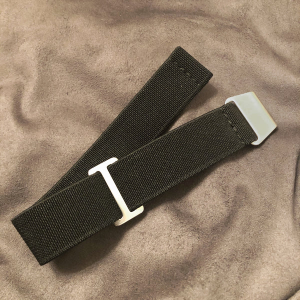 "Parachute Style Elastic ""No Pass"" Watch Straps - Solid Black - American Microbrand"