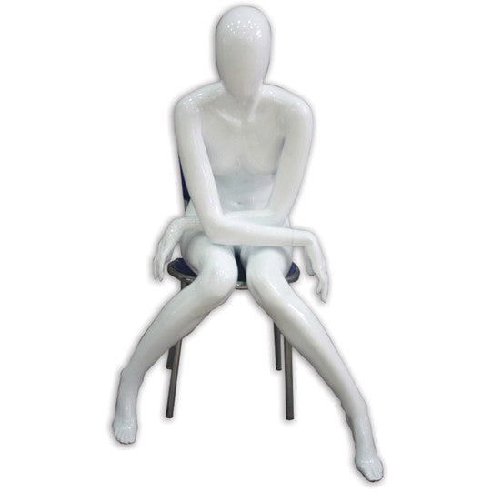 AF-023 Glossy Female Abstract Sitting Mannequin - Christina (Pedestal Not Included) - DisplayImporter