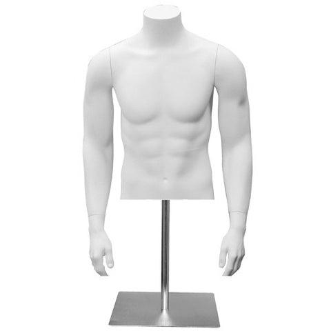 AF-131 Countertop Headless Male Half Torso Mannequin Form with Arms and Base - DisplayImporter