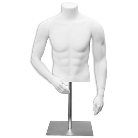 AF-133 Countertop Headless Male Half Torso Mannequin Form with Arms and Base - DisplayImporter