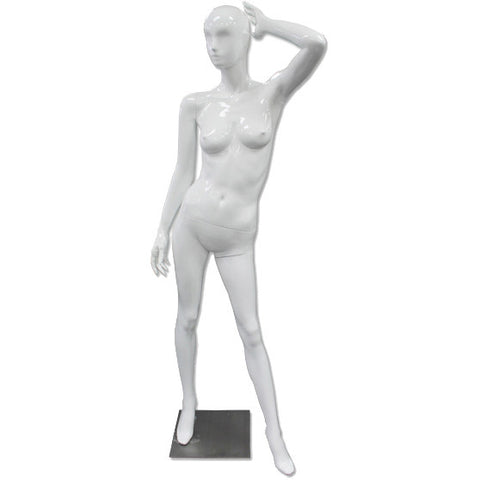 AF-189 Glossy Abstract Female Egghead Mannequin with Arm in Air - DisplayImporter