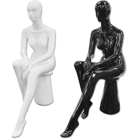 AF-191 Glossy Abstract Female Egghead Sitting Mannequin with Pedestal - DisplayImporter