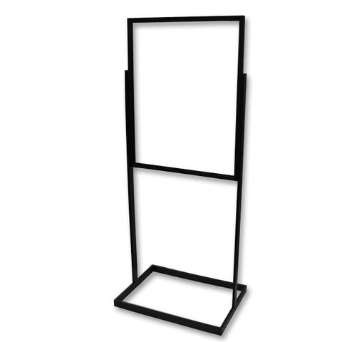 "AF-RBH30BK Bulletin Sign Holder in Rectangular Tubing 28"" - Black - DisplayImporter"