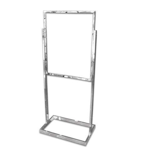 "AF-RBH30 Bulletin Sign Holder in Rectangular Tubing 28"" - Chrome - DisplayImporter"