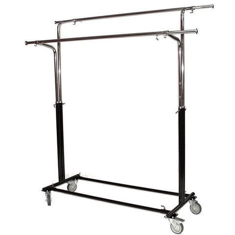 AFD-011 Rolling Double Round Tubing Garment Rack - DisplayImporter