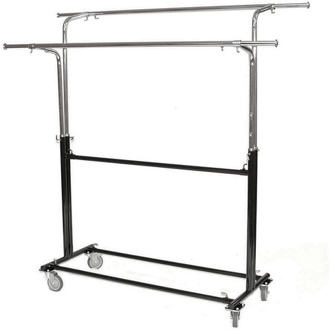 AFD-012 Rolling Double Round Tubing Garment Rack with Extra Bar - DisplayImporter