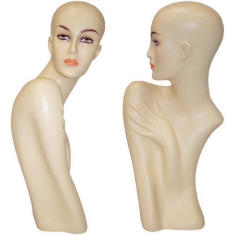 AFD-018 Female Mannequin Head Dispkay with Shoulder and Arm Bust - DisplayImporter