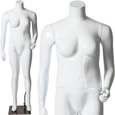 AFD-058 Glossy Plus Size Female Headless Mannequin - DisplayImporter