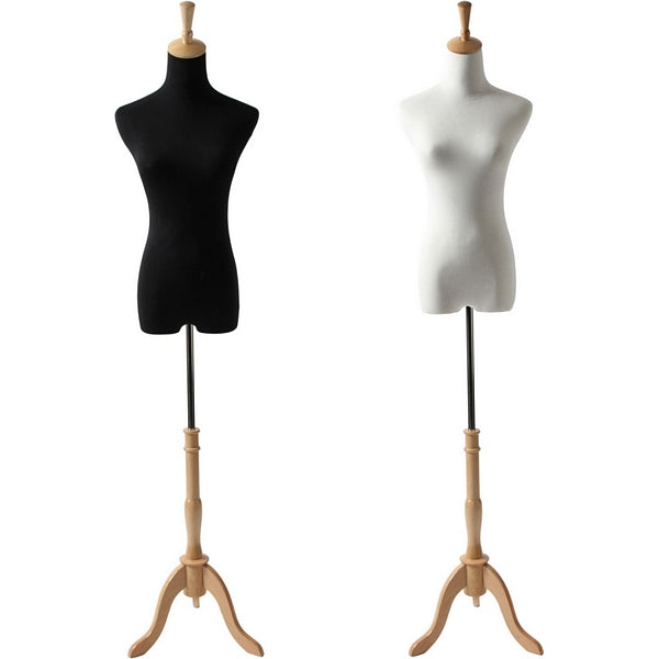 AFD-064A Petite Ladies French Dress Form with Natural Wood Tripod Base - DisplayImporter