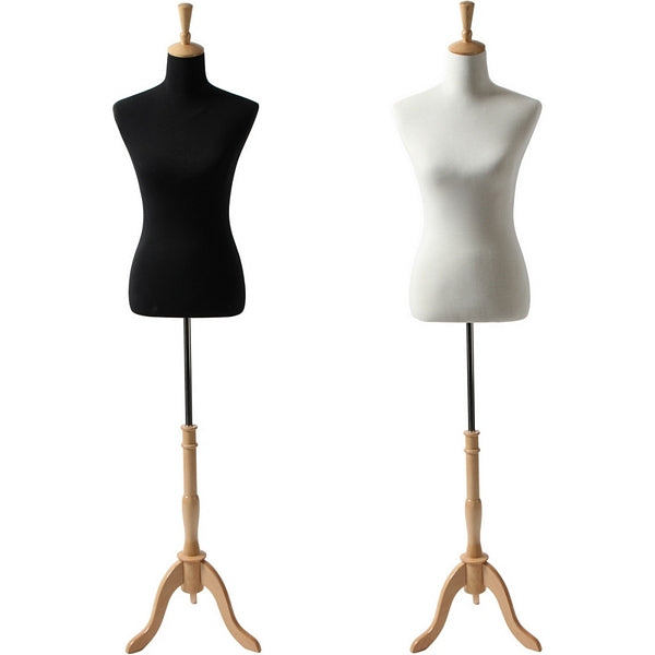 AFD-065A Ladies Female French Dress Form with Natural Wood Tripod Base - DisplayImporter