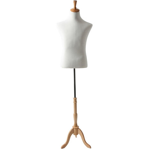 AFD-067A Men's French Dress Form with Natural Wood Tripod Base - DisplayImporter