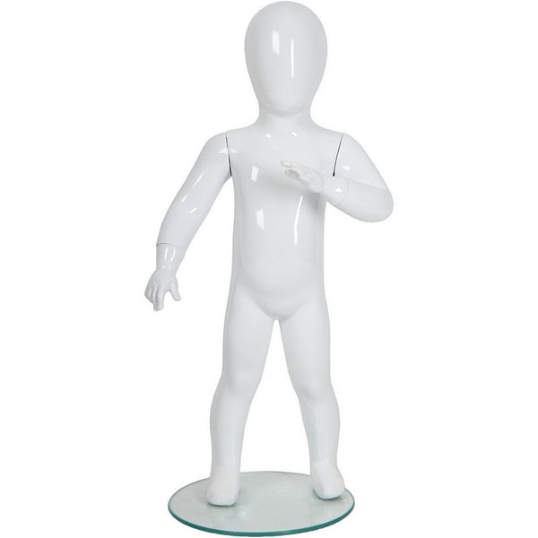 "AFD-072 Glossy Abstract Standing Toddler Baby Mannequin 2' 7"" - DisplayImporter"