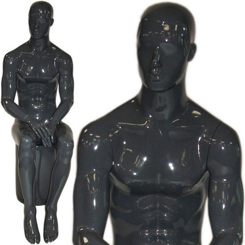 AFD-077 Glossy Male Abstract Face Sitting Mannequin - DisplayImporter
