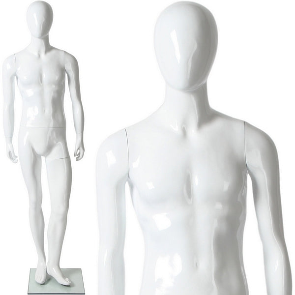 AFD-078 Glossy Male Abstract Egghead Standing Mannequin - DisplayImporter
