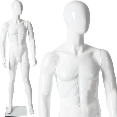 AFD-079 Glossy Male Abstract Egghead Standing Mannequin - DisplayImporter