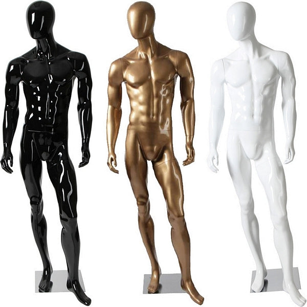 AFD-082 Glossy Male Abstract Egghead Standing Mannequin - DisplayImporter