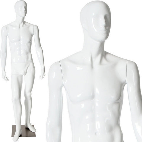 AFD-087 Glossy Male Abstract Face Standing Mannequin - DisplayImporter