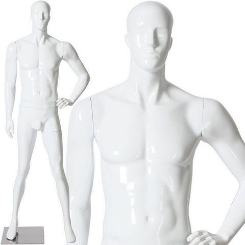 AFD-088 Glossy Male Abstract Face Standing Mannequin - DisplayImporter