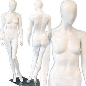 AFD-DMG1124 Ladies Full Size Standing Glossy White Mannequin - Camellia - DisplayImporter