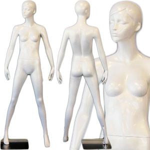 AFD-SHF22 Female Standing Full Body Glossy Pearl White Mannequin - Peaches - DisplayImporter