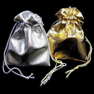 "BG-002 Medium Metallic Drawstring Gift Bag - 3.5"" H x 2.75"" W  - DisplayImporter.com - 1"