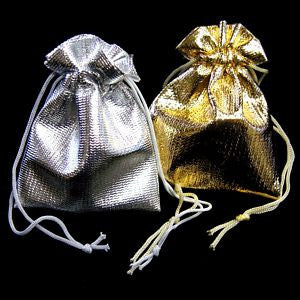 "BG-001 Small Metallic Drawstring Gift Bag - 2.75"" H x 2.25"" W  - DisplayImporter.com"