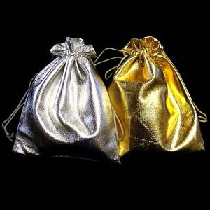 "BG-003 Large Metallic Drawstring Gift Bag - 4.63"" H x 3.75"" W  - DisplayImporter.com"