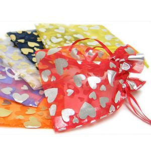 "BG-033 Love Hearts Pattern Satin Mesh Organza Gift Bag 5.12"" x 3.94""  - DisplayImporter.com"