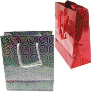 "BG-034 Holographic Rope Tote Party Favor Gift Bags - 6.6"" x 5.5"" - DisplayImporter"