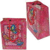 "BG-037 Euro-Handle Paper Shopping Bags - 9.5"" x 8"" Butterflies (#k10g) - DisplayImporter.com - 8"