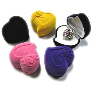 BX-025 Heart with Rose Silhouette Velvet Ring Box  - DisplayImporter.com