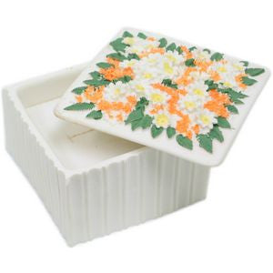 BX-042 Tropic Flowers Large Square Polyresin Jewelry Container with Lid - DisplayImporter