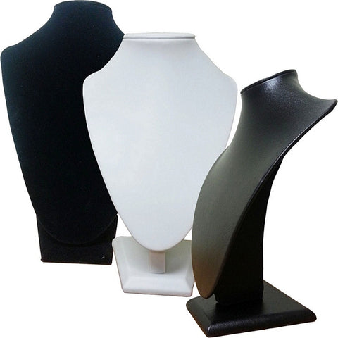 DS-006 Medium Bust Leatherette/Velvet Jewelry Display for Necklaces, Pendants - DisplayImporter