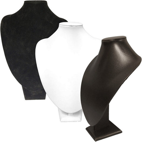 DS-016 Large Bust Leatherette/Velvet Jewelry Display for Necklaces, Pendant - DisplayImporter