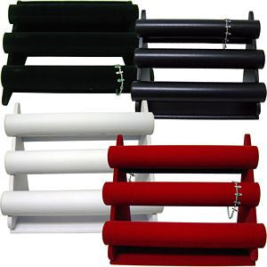 DS-017 Three Tier Leatherette/Velvet Jewelry Display Bars for Bracelets, Cuffs, Watches - DisplayImporter