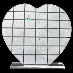 DS-022 Frosted Clear Heart Earrings Jewelry Display Stand - DisplayImporter