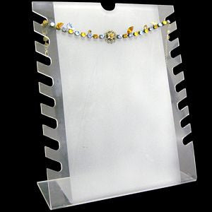 DS-034 Notched Bracelets/Necklaces Frosted Clear Display Stand  - DisplayImporter.com
