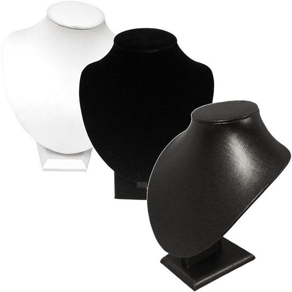 DS-037 Medium Bust Leatherette/Velvet Display - DisplayImporter