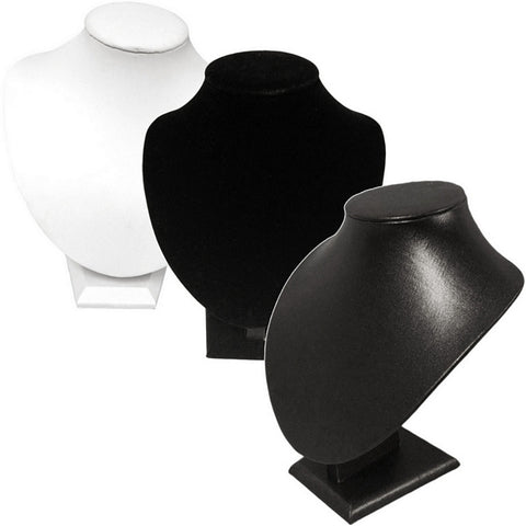 DS-037 Medium Bust Leatherette/Velvet Jewelry Display for Necklaces, Pendant - DisplayImporter
