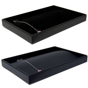 DS-068 22 Tab Leatherette/Velvet Curve Display Tray  - DisplayImporter.com
