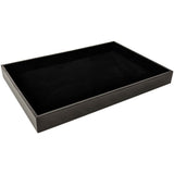 DS-080 Black Leatherette/Velvet Flat Multipurpose Display Tray for Jewelry, Eyewear, Charms, Pins - DisplayImporter