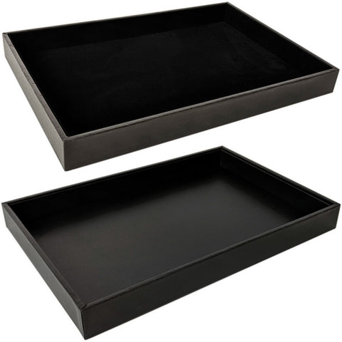 DS-080 Black Leatherette/Velvet Flat Display Tray - DisplayImporter