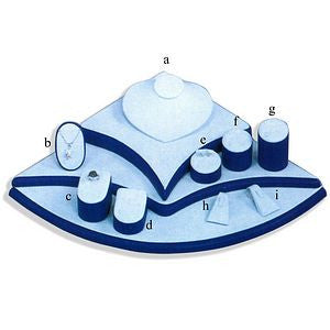 DS-085 Blue & White Leatherette Jewelry Display Set - DisplayImporter