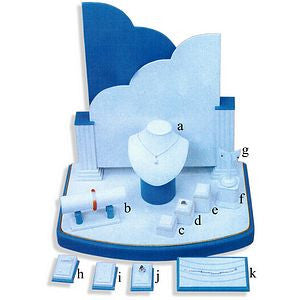 DS-086 White & Teal Leatherette Jewelry Display Set  - DisplayImporter.com