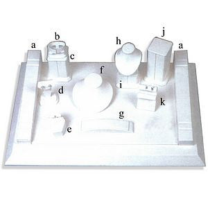 DS-089 All White Leatherette Jewelry Display Set - DisplayImporter